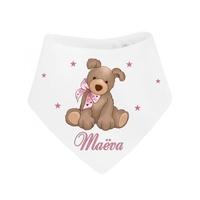 Bavoir bébé bandana Peluche chien fille personnalisé avec prénom