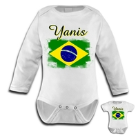 Body bébé Brésil personnalisé avec le prénom de votre choix
