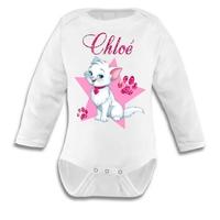 Body bébé Chat de princesse personnalisé avec le prénom de votre choix