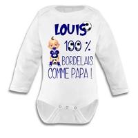 Body bébé FOOT Bordeaux comme papa personnalisé avec le prénom de votre choix
