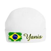 Bonnet de naissance Brésil personnalisé avec prénom