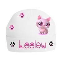 Bonnet de naissance Chat beauté personnalisé avec prénom