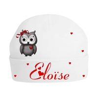Bonnet de naissance Chouette Owl personnalisé avec prénom
