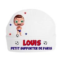 Bonnet de naissance Football Petit supporter de Paris personnalisé avec prénom
