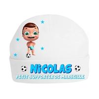 Bonnet de naissance Football Petit supporter de Marseille personnalisé avec prénom