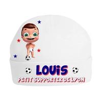 Bonnet de naissance Football Petit supporter de Lyon personnalisé avec prénom
