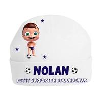Bonnet de naissance Football Petit supporter de Bordeaux personnalisé avec prénom