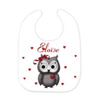 Bavoir bébé Chouette personnalisé avec prénom