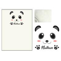 Plaid bébé Panda personnalisé avec le prénom de votre choix