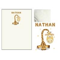 Plaid bébé Girafe personnalisé avec le prénom de votre choix