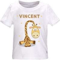 Tee shirt bébé Girafe personnalisé avec le prénom de votre choix