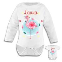 Body bébé Flamant rose personnalisé avec le prénom de votre choix