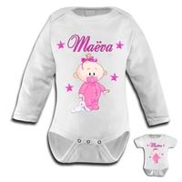 Body bébé fille personnalisé avec le prénom de votre choix