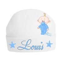Bonnet de naissance garçon personnalisé avec prénom