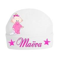 Bonnet de naissance fille personnalisé avec prénom