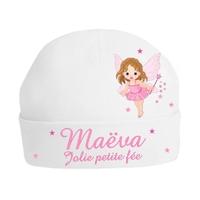 Bonnet de naissance Jolie petite fée personnalisé avec prénom