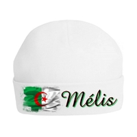 Bonnet de naissance Algérie personnalisé avec prénom