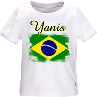 Tee shirt bébé Brésil personnalisé avec le prénom de votre choix