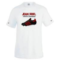 Tee shirt homme Chaussure de foot 100% Footeux personnalisé avec prénom