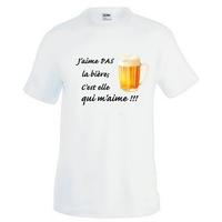 Tee shirt homme humour J'aime pas la bière, c'est elle qui m'aime !