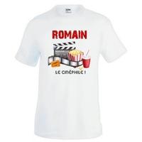 Tee shirt homme Cinéma Cinéphile personnalisé avec prénom