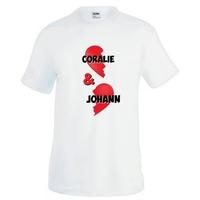 Tee shirt homme Amour coeur personnalisé avec deux prénoms