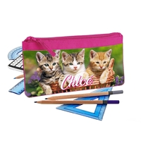 Trousse d'école plate Chat chaton personnalisée avec prénom