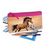 Trousse d'école plate Cheval chevaux personnalisée avec prénom