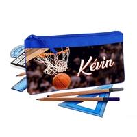 Trousse d'école plate basketball personnalisée avec prénom