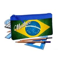 Trousse d'école plate Brésil personnalisée avec prénom