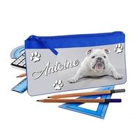 Trousse d'école plate Chien bulldog personnalisée avec prénom