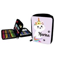 Trousse garnie Chat Licorne personnalisée avec prénom au choix