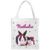 Sac shopping cabas Chat et lapin personnalisé avec prénom