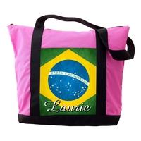 Sac cabas rose Brésil personnalisé avec prénom