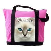 Sac cabas rose Chat chaton personnalisé avec prénom