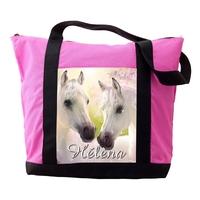 Sac cabas rose Cheval chevaux personnalisé avec prénom