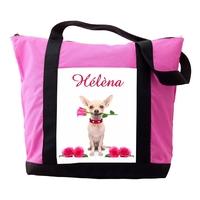 Sac cabas rose Chien Chihuahua personnalisé avec prénom