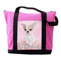 Sac cabas rose Chiot Chihuahua personnalisé avec prénom