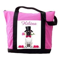 Sac cabas rose Chien Carlin personnalisé avec prénom