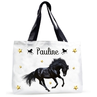Grand sac cabas Cheval noir personnalisé avec prénom