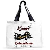 Grand sac cabas Nounou extra ordinaire personnalisé avec prénom