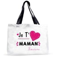 Grand sac cabas Je t'aime maman personnalisé avec prénom
