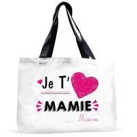 Grand sac cabas Je t'aime mamie personnalisé avec prénom