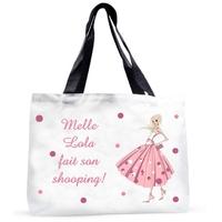 Grand sac cabas Miss shopping personnalisé avec prénom