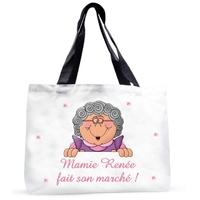 Grand sac cabas Mamie fait son marché personnalisé avec prénom