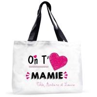 Grand sac cabas On t'aime mamie personnalisé avec prénoms