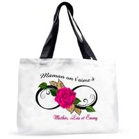 Grand sac cabas Maman on t'aime à l'infini personnalisé avec prénoms