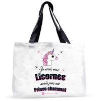 Grand sac cabas humour Je crois aux licornes....