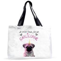 Grand sac cabas humour Je m'en fous j'ai un carlicorne ! (Carlin+Licorne)