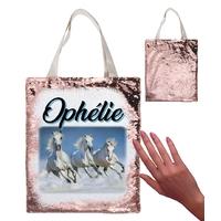 Sac cabas magique en sequins Cheval chevaux personnalisé avec prénom
